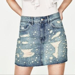 Zara Denim Jean Mini Skirt with Pearl Detail